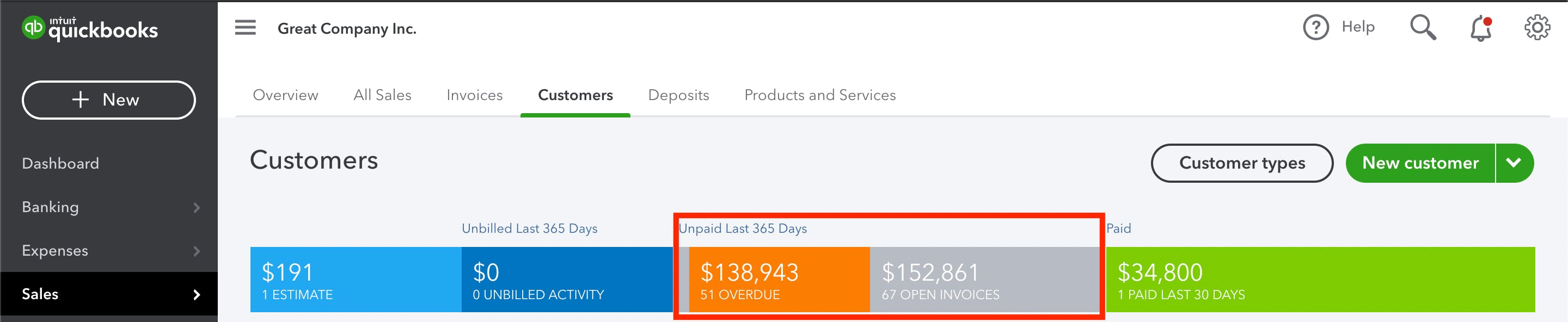 A QuickBooks Online screenshot with a lot of past due invoices.