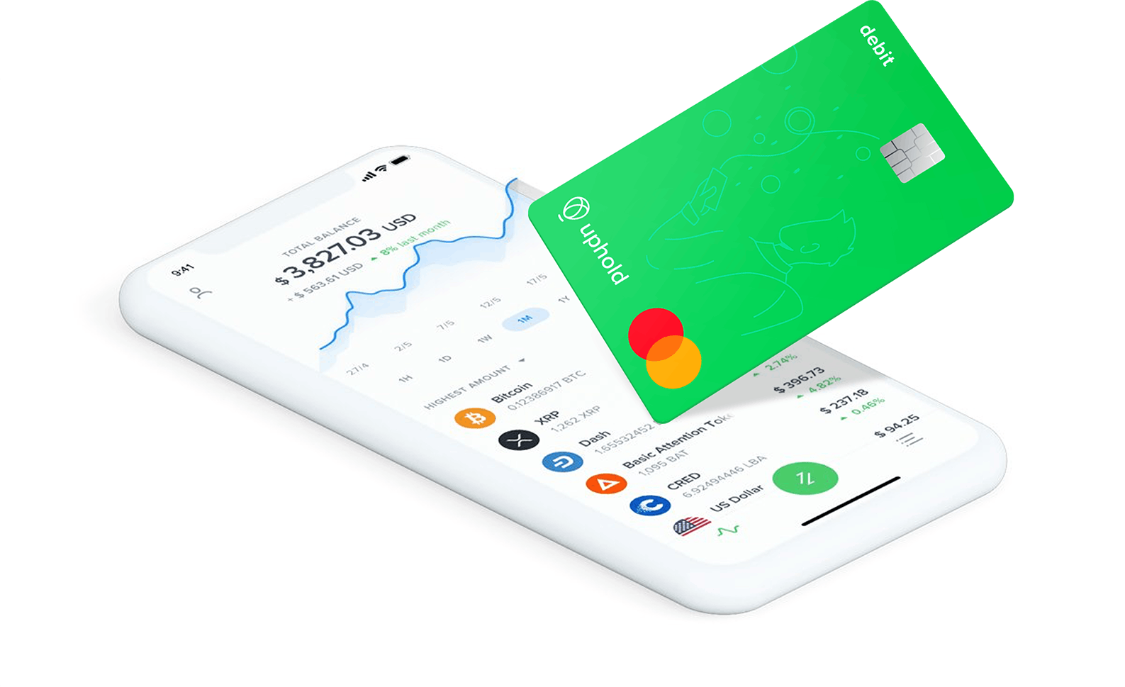 Phone with Uphold app