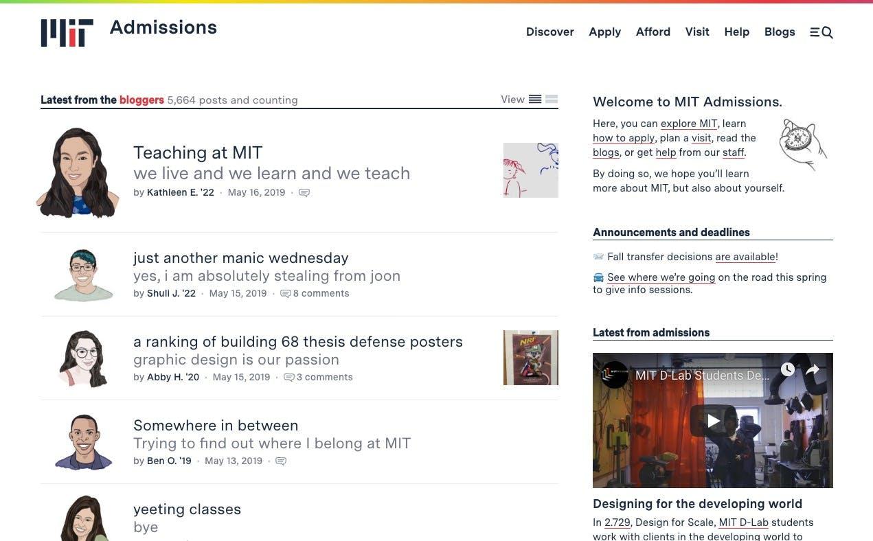 MIT Admissions screenshot