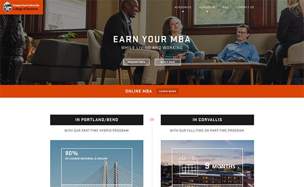 Oregon State University College of Business screenshot