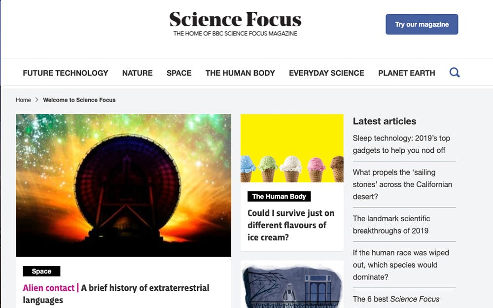 BBC Science Focus screenshot