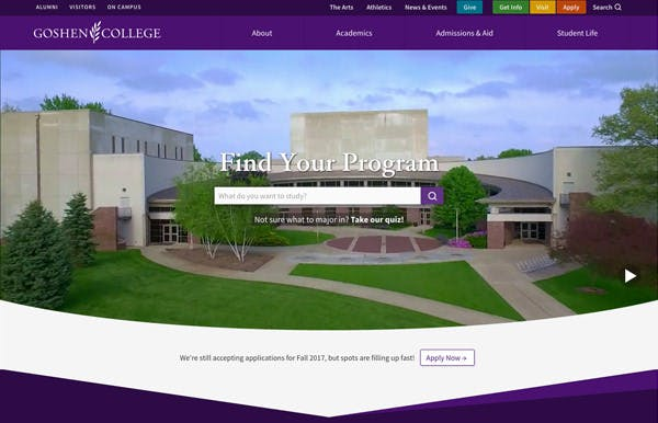 Goshen College screenshot