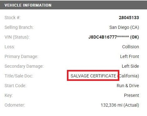 Salvage Certificate