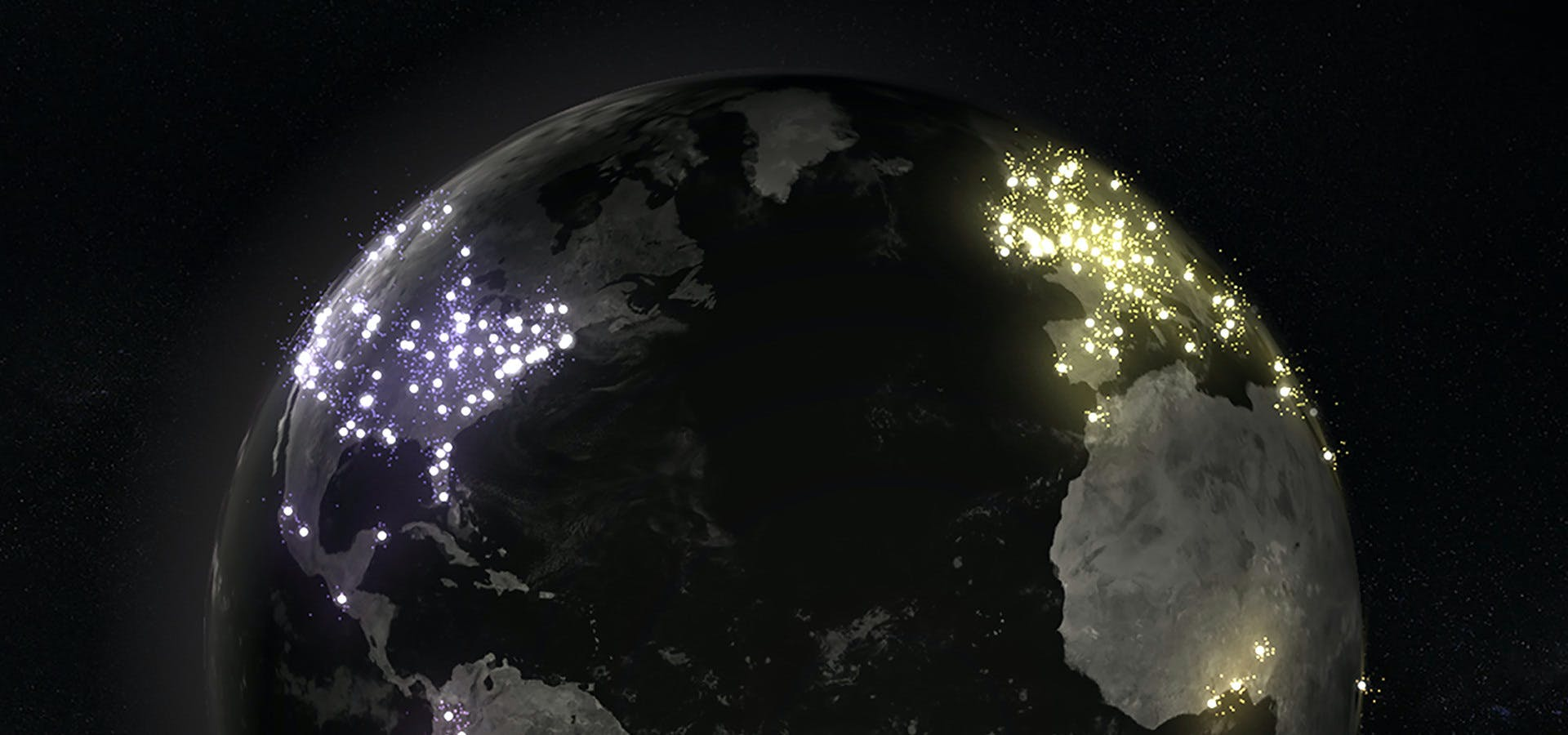 Top of globe with particles bursting from major cities.