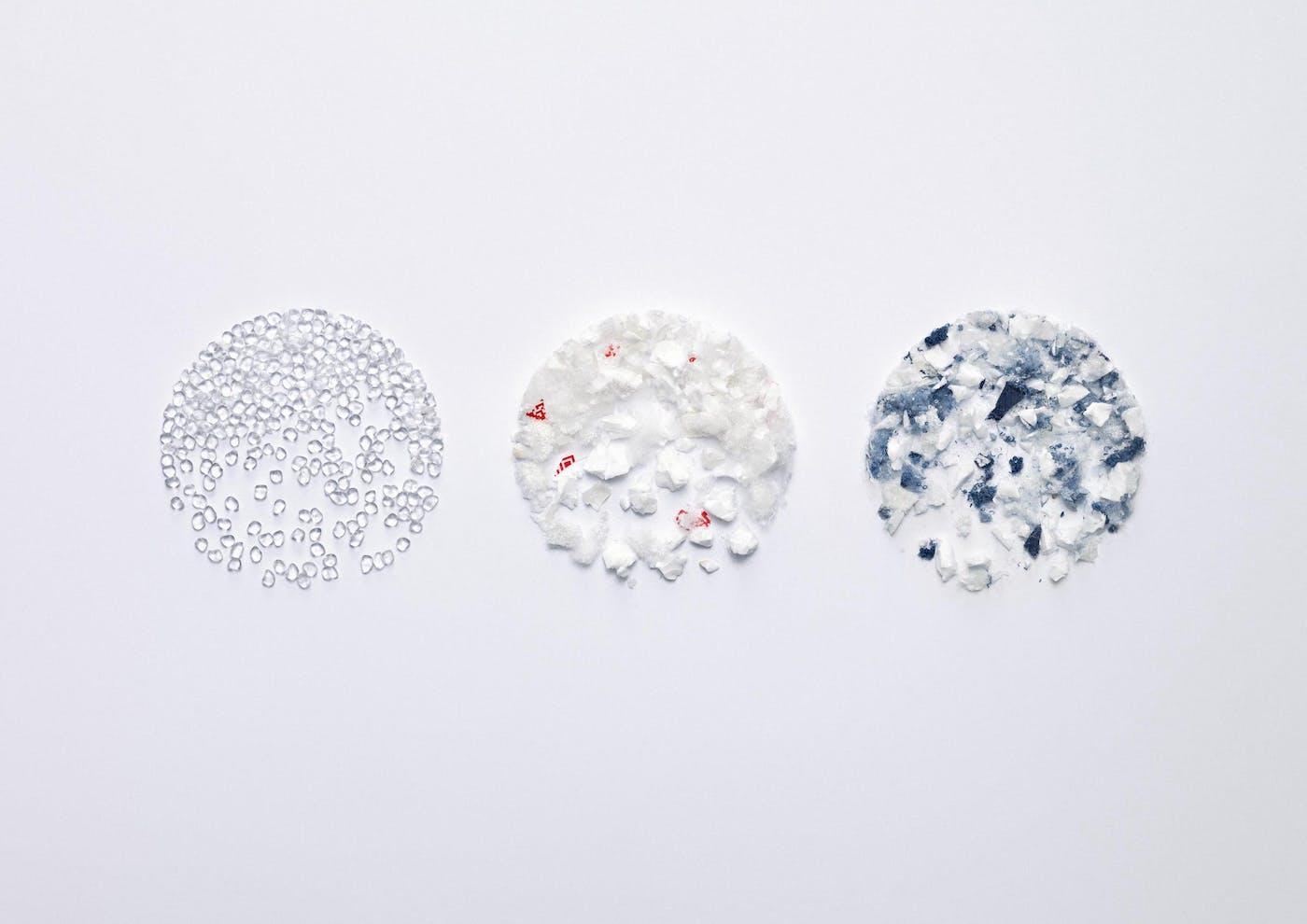 Materials in three circular shapes