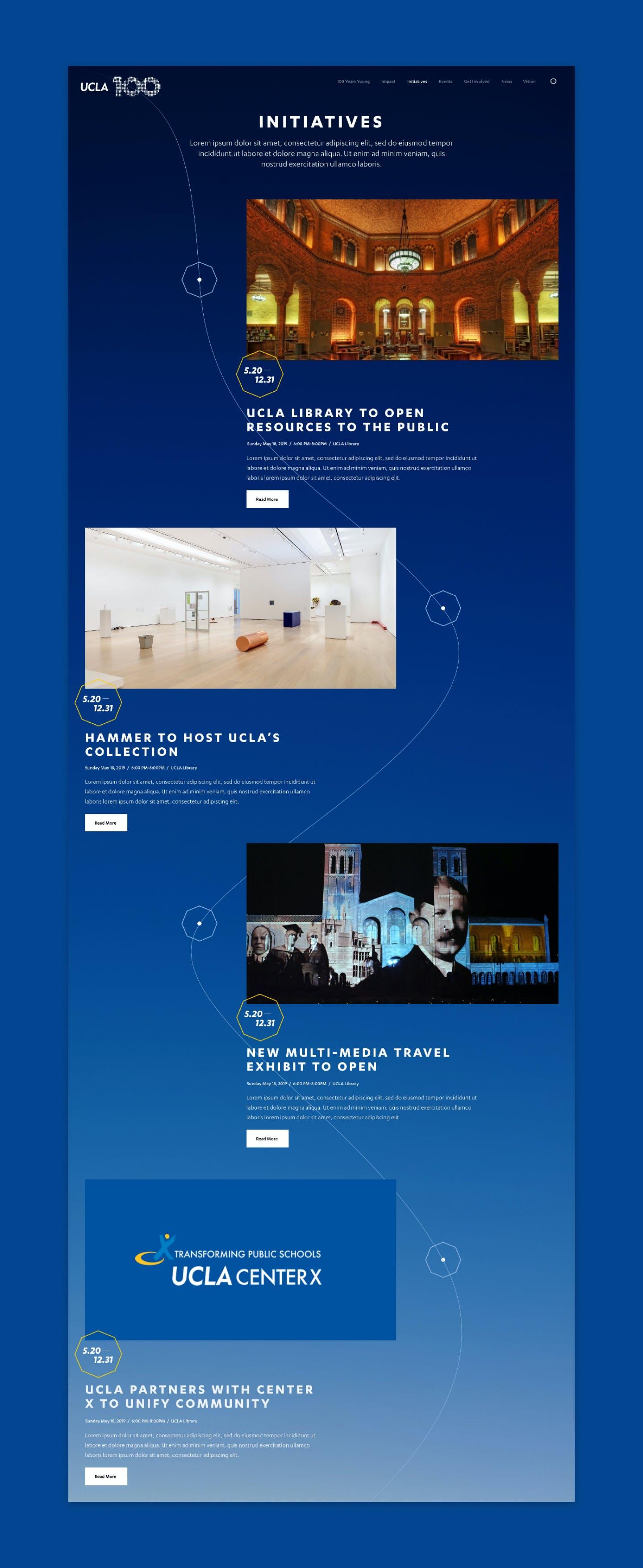 Screenshot of UCLA 100 initiatives page