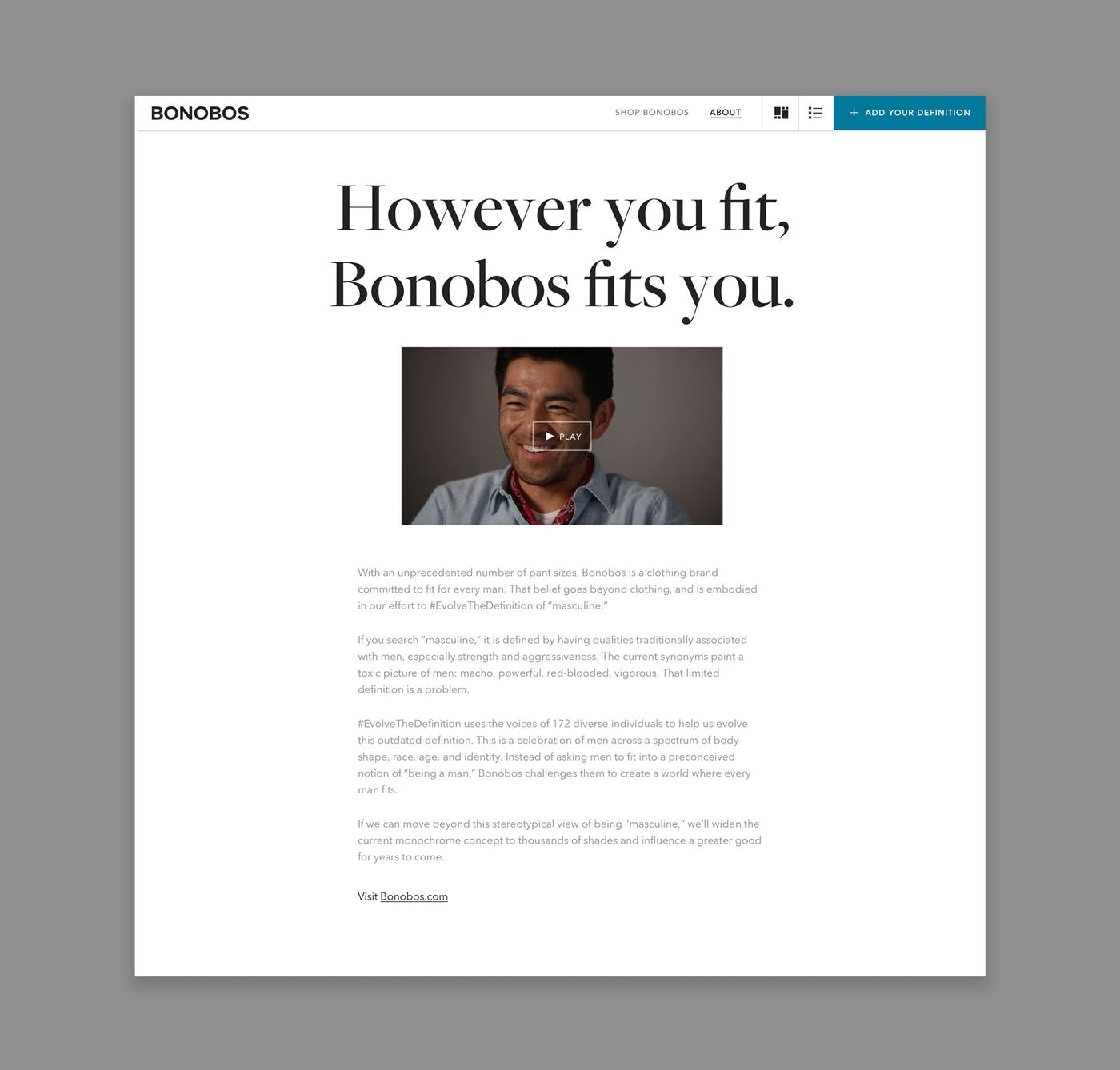 Screenshot of blog post page of Bonobos project.
