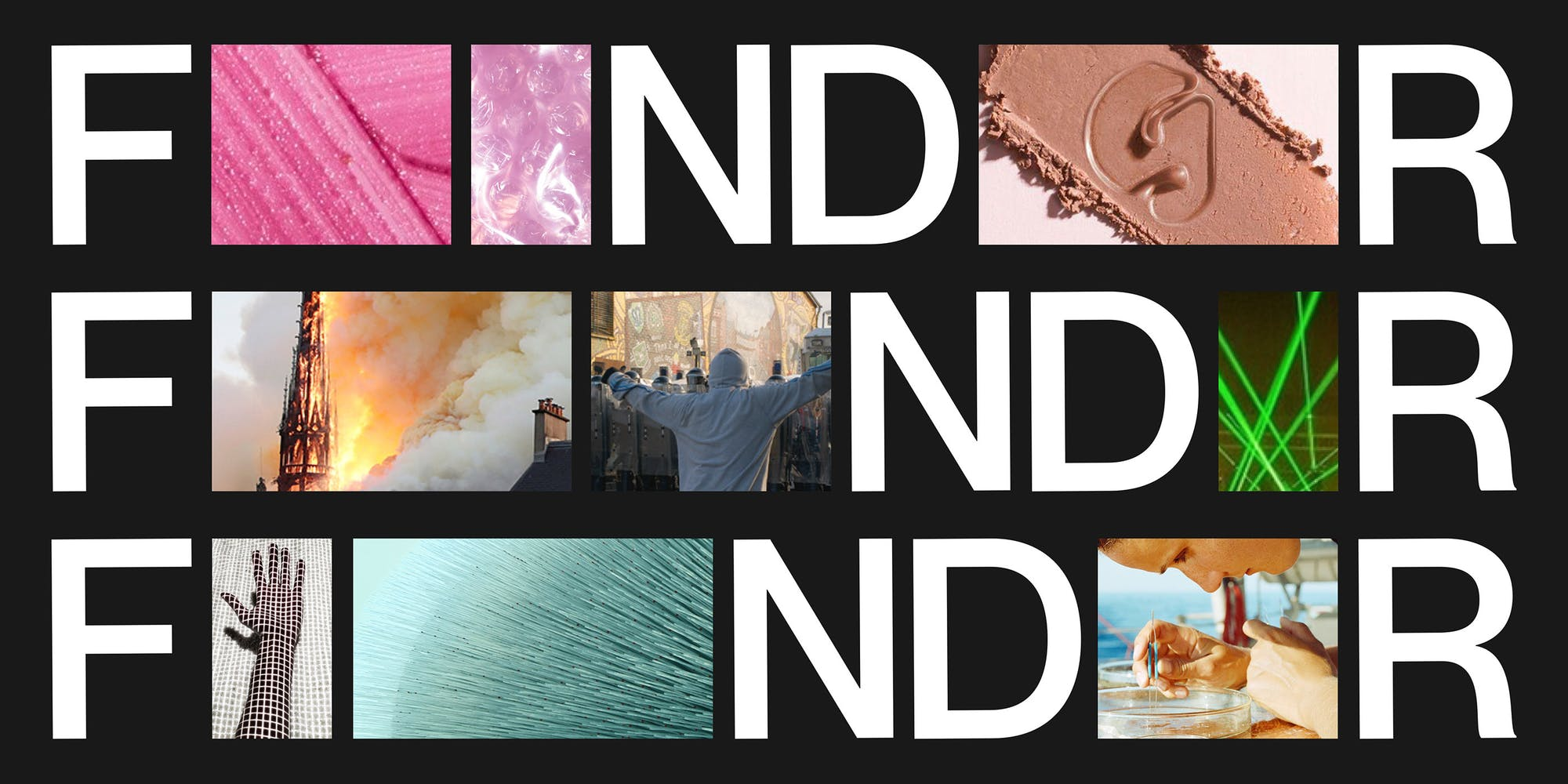The FNDR logo repeated three times with pictures between the letters. First row has pink glittery images. The second row has a rocket ship taking off, a person in a hoodie speaking to a crowd, and green laser beams. The third row has a mesh hand, a teal abstract line picture, and a woman using tweezers to pick something out of a petri dish.