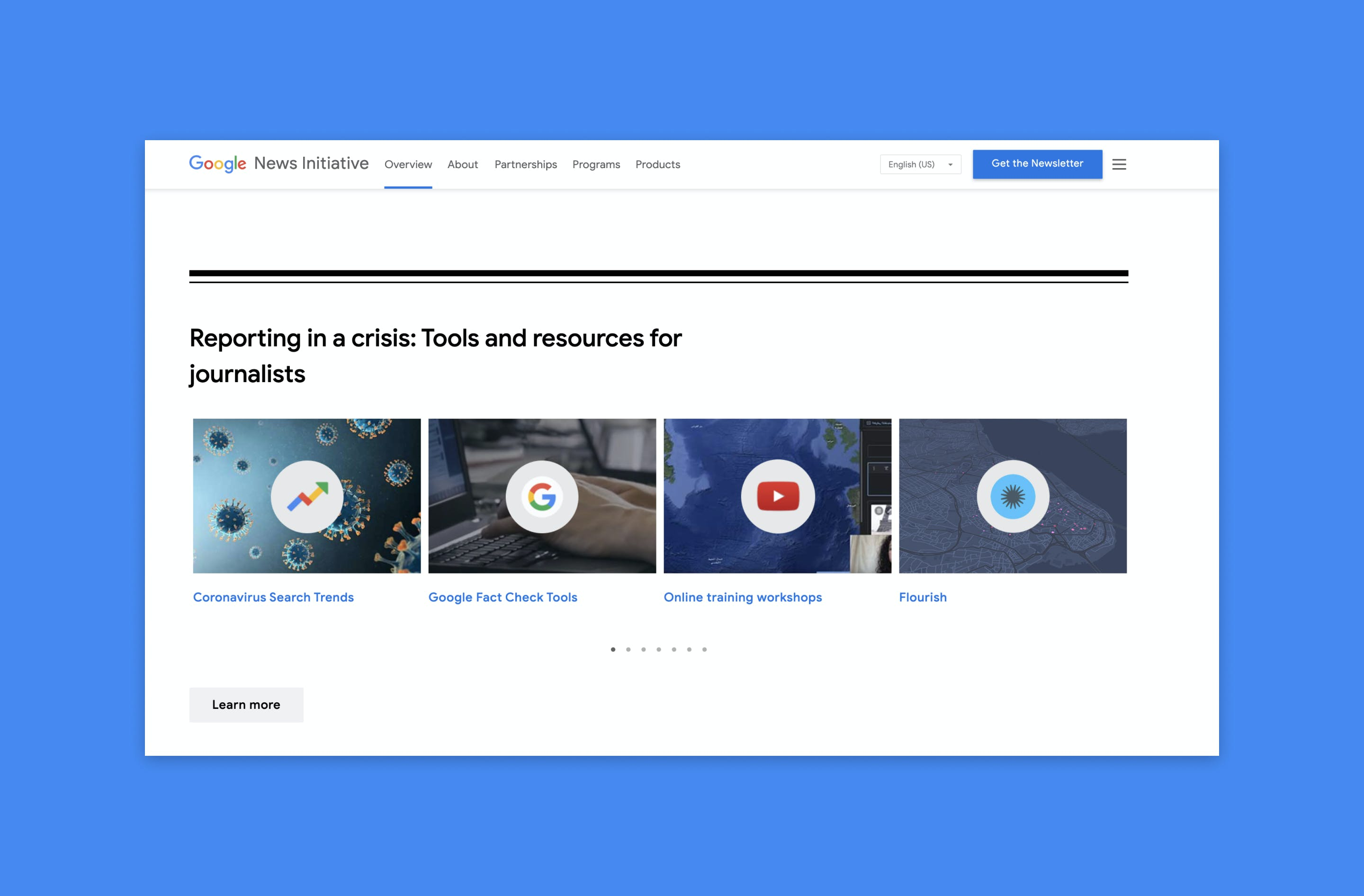 """Part of the Google News Initiative website is shown on a bright blue background. The site is showing a carousel of thumbnails titled """"Reporting in a crisis: Tools and resources for journalists"""""""