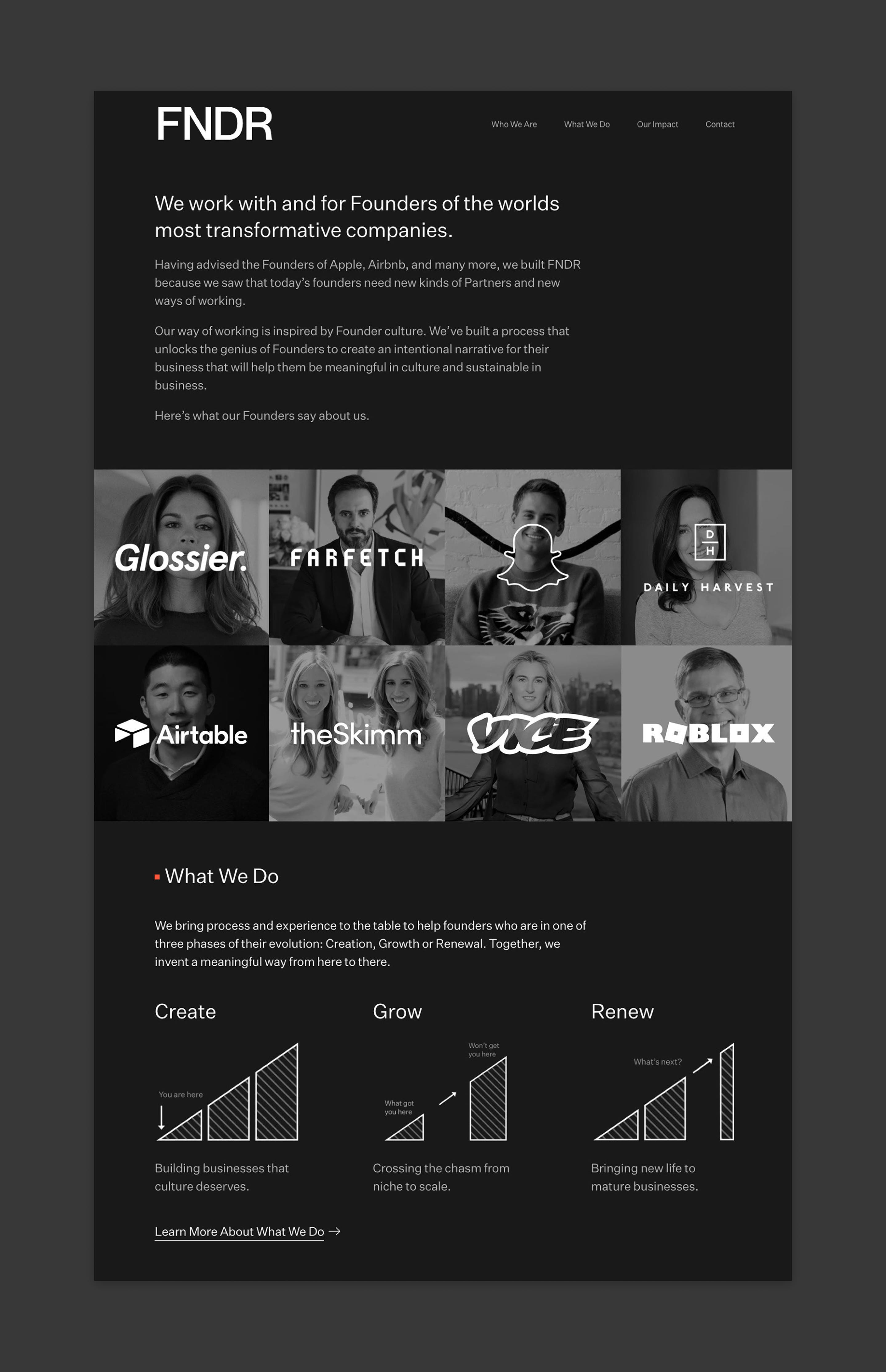 A flat comp of the FNDR homepage. It's a black background with text up top, a grid of Founders and their company logos over their faces, and a graph of what they do - from Create to Grow to Renew.