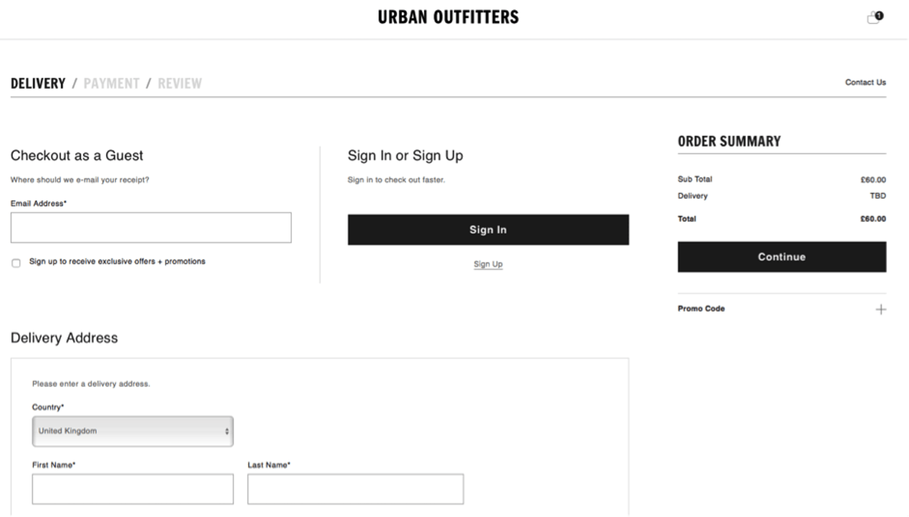 Urban Outfitters guest option