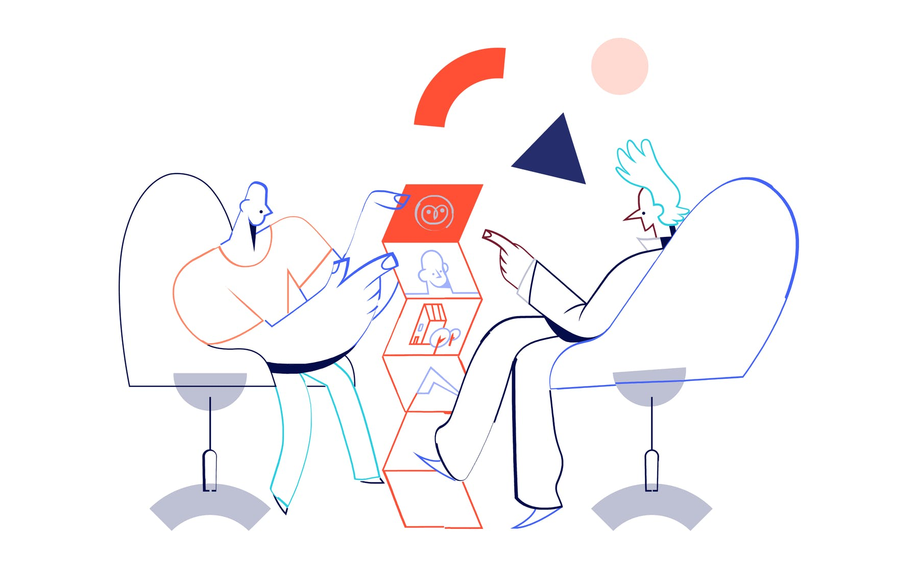 illustration of two people sat talking