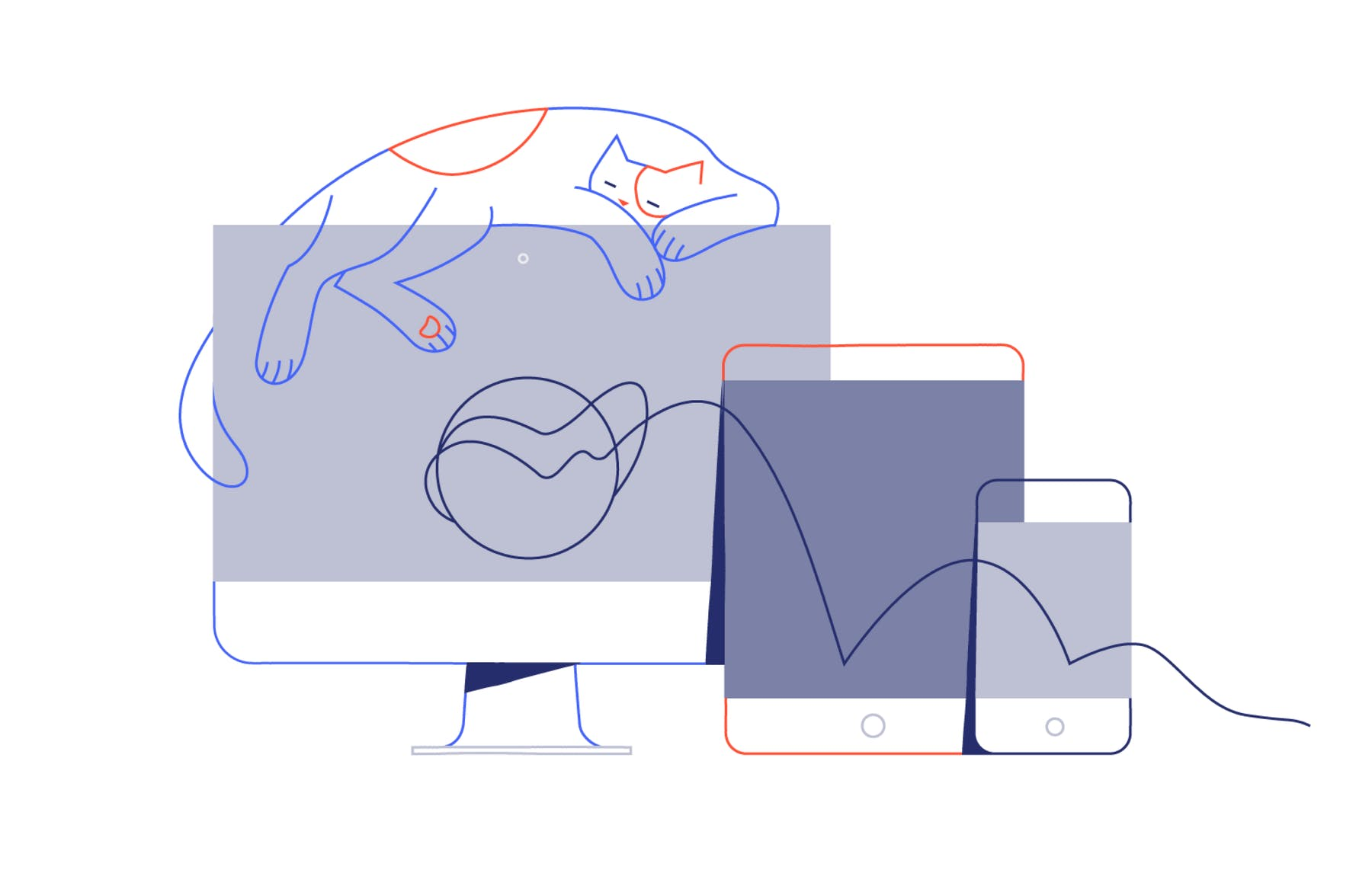 illustration of a cat sat on a computer, a tablet and a mobile phone