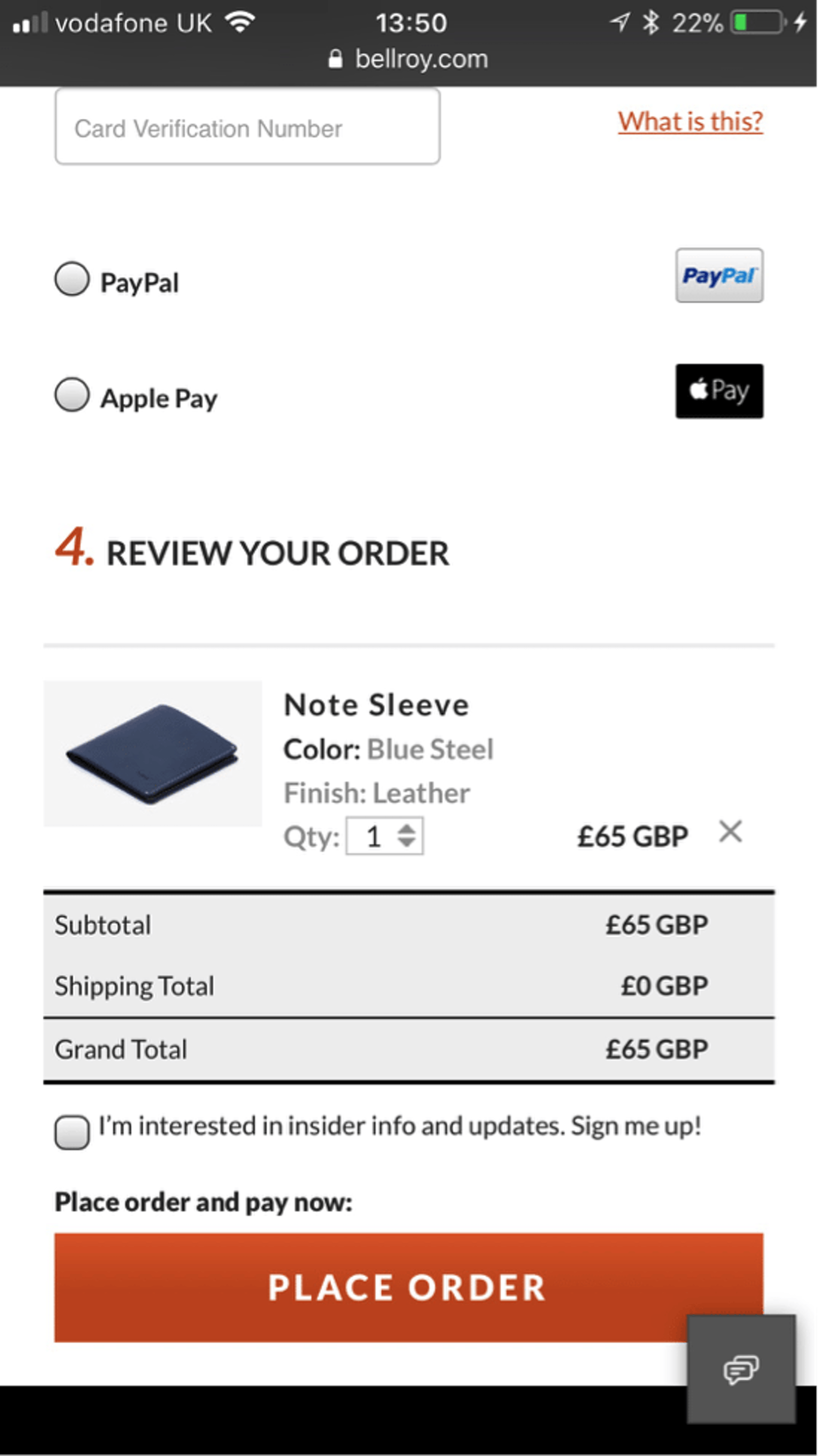 Bellroy mobile payment page