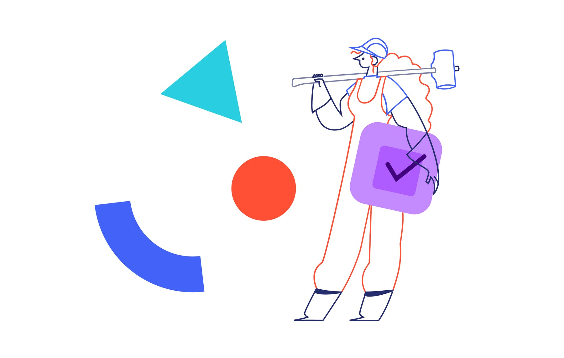 a long-haired female construction worker with a sledgehammer looking at random shapes