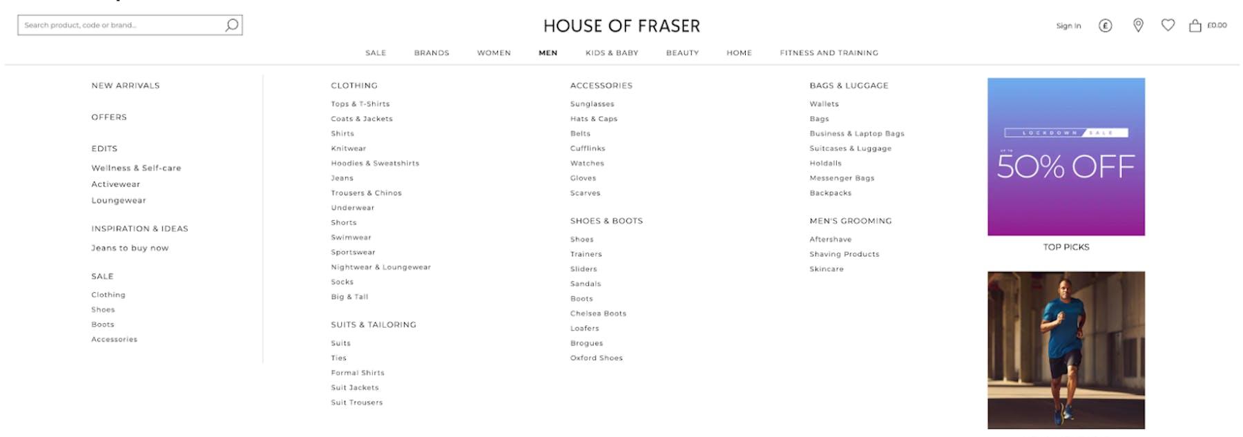House of Fraser tree testing