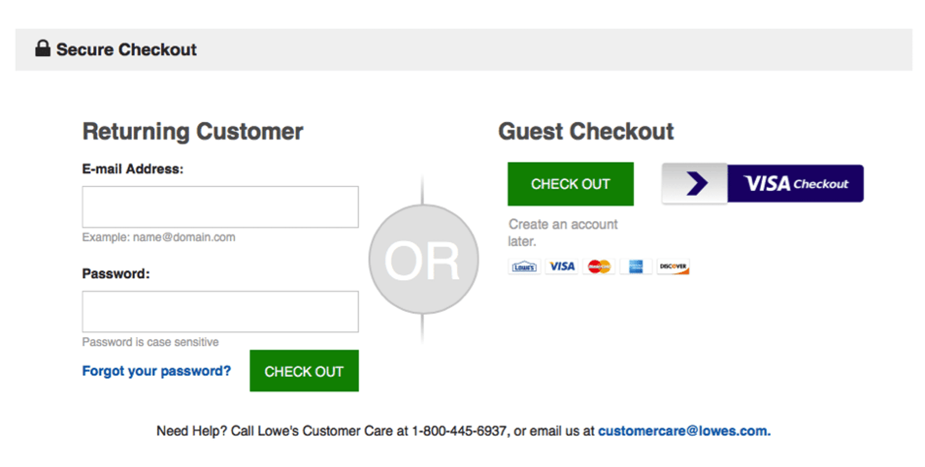 Lowes guest checkout example