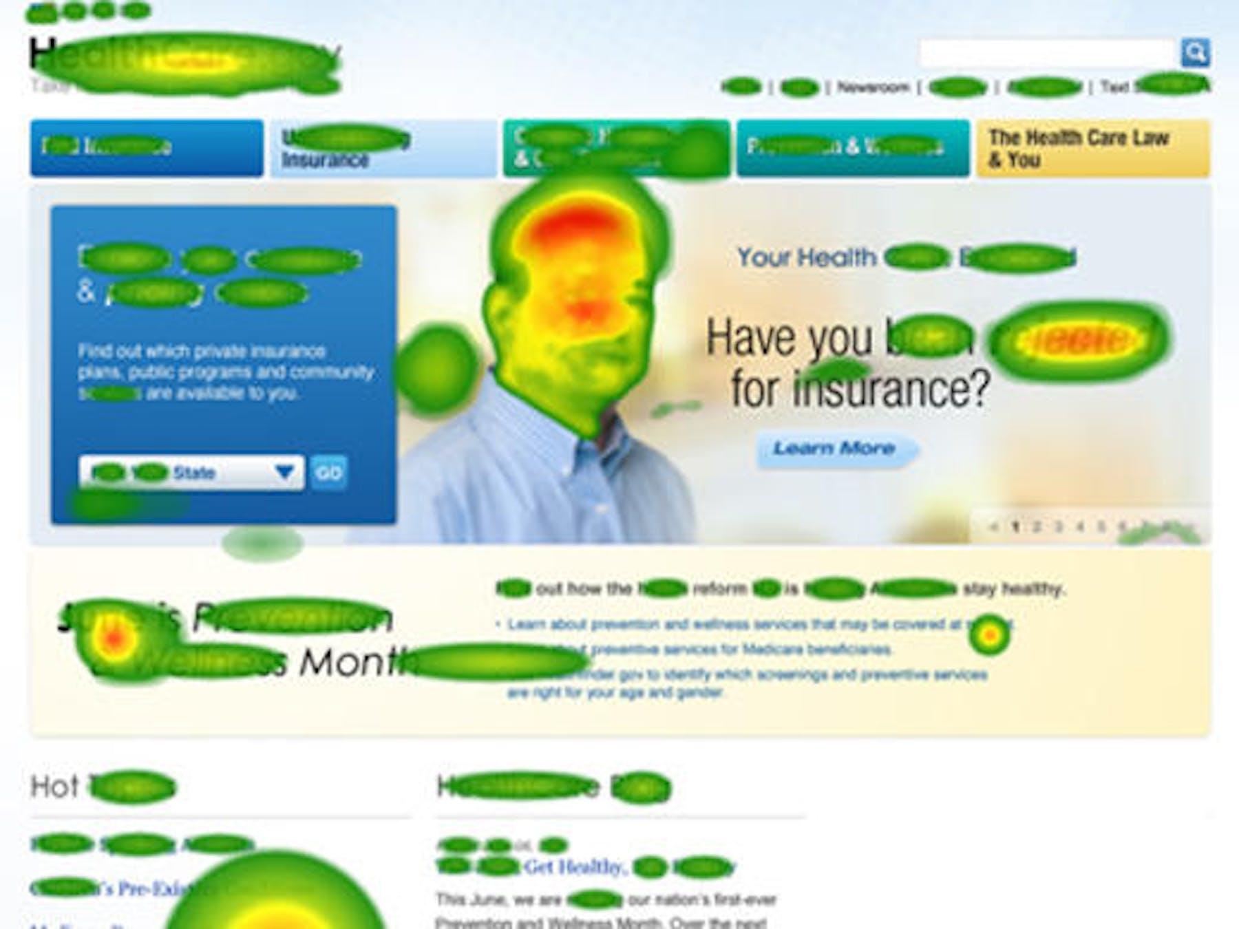 eyetracking heatmaps on a website