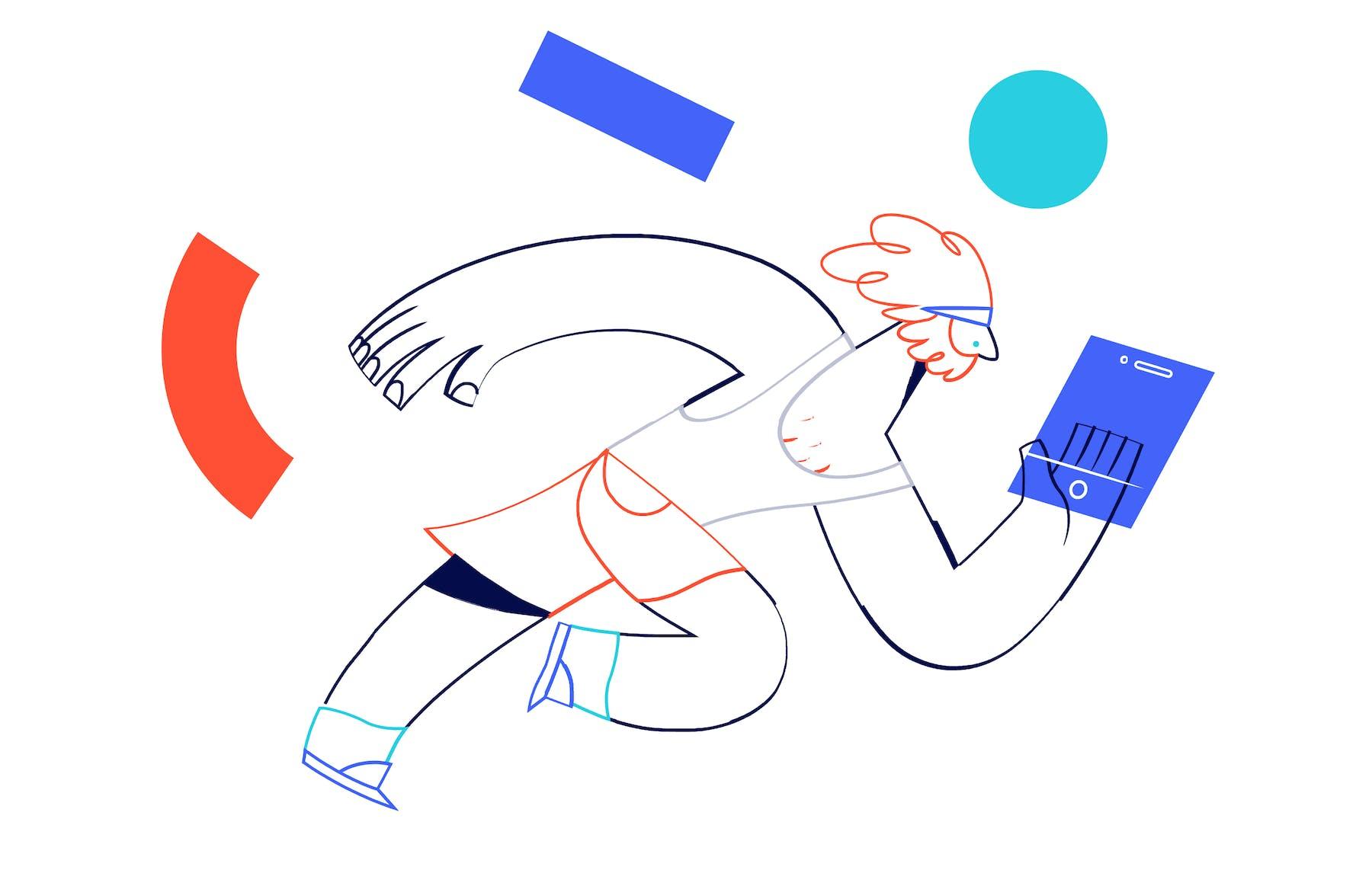 illustration of sprinting man looking at a tablet