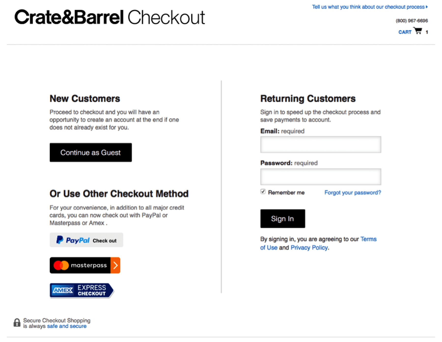 Alternative checkout options
