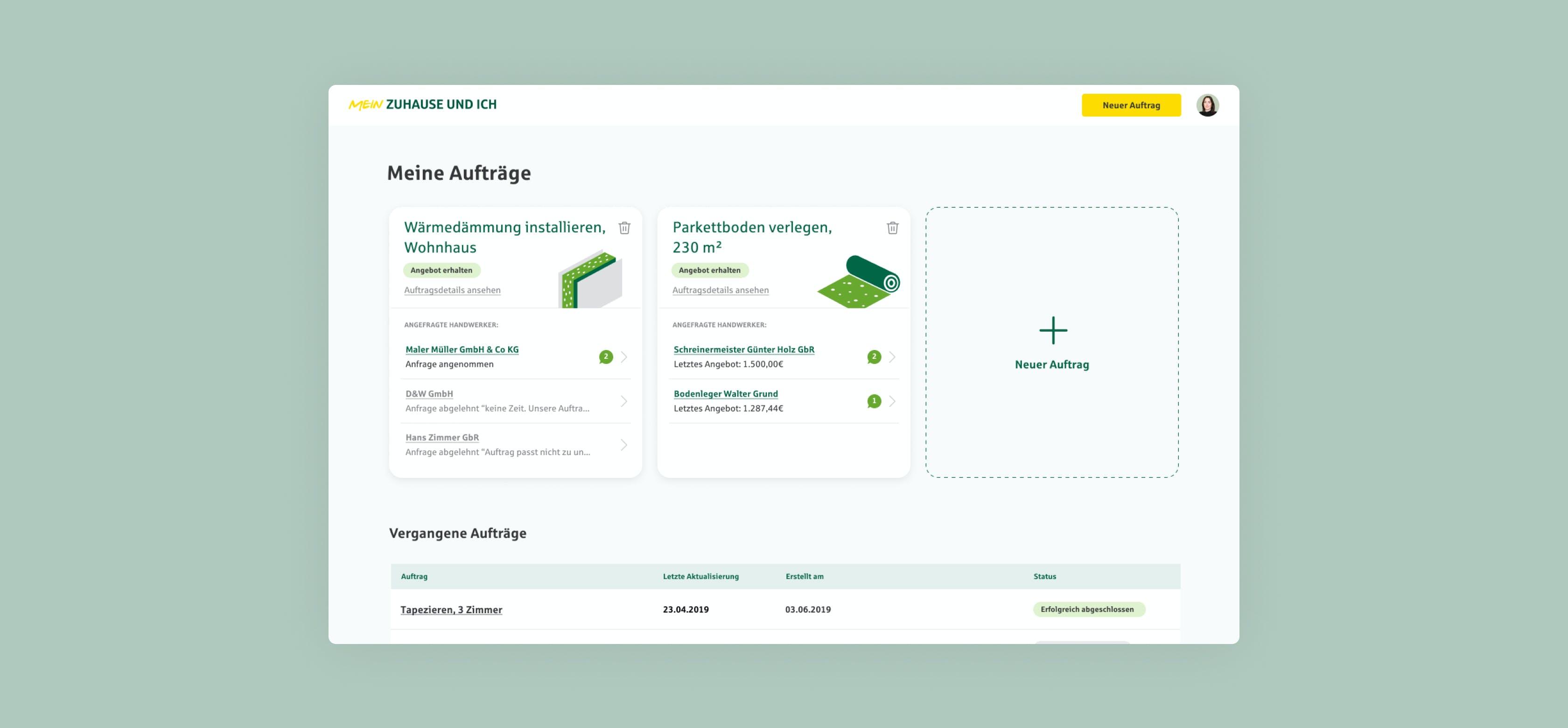 B2B digitale Produktentwicklung: Interface von MeinZuhause und ich (Provinzial Rheinland)