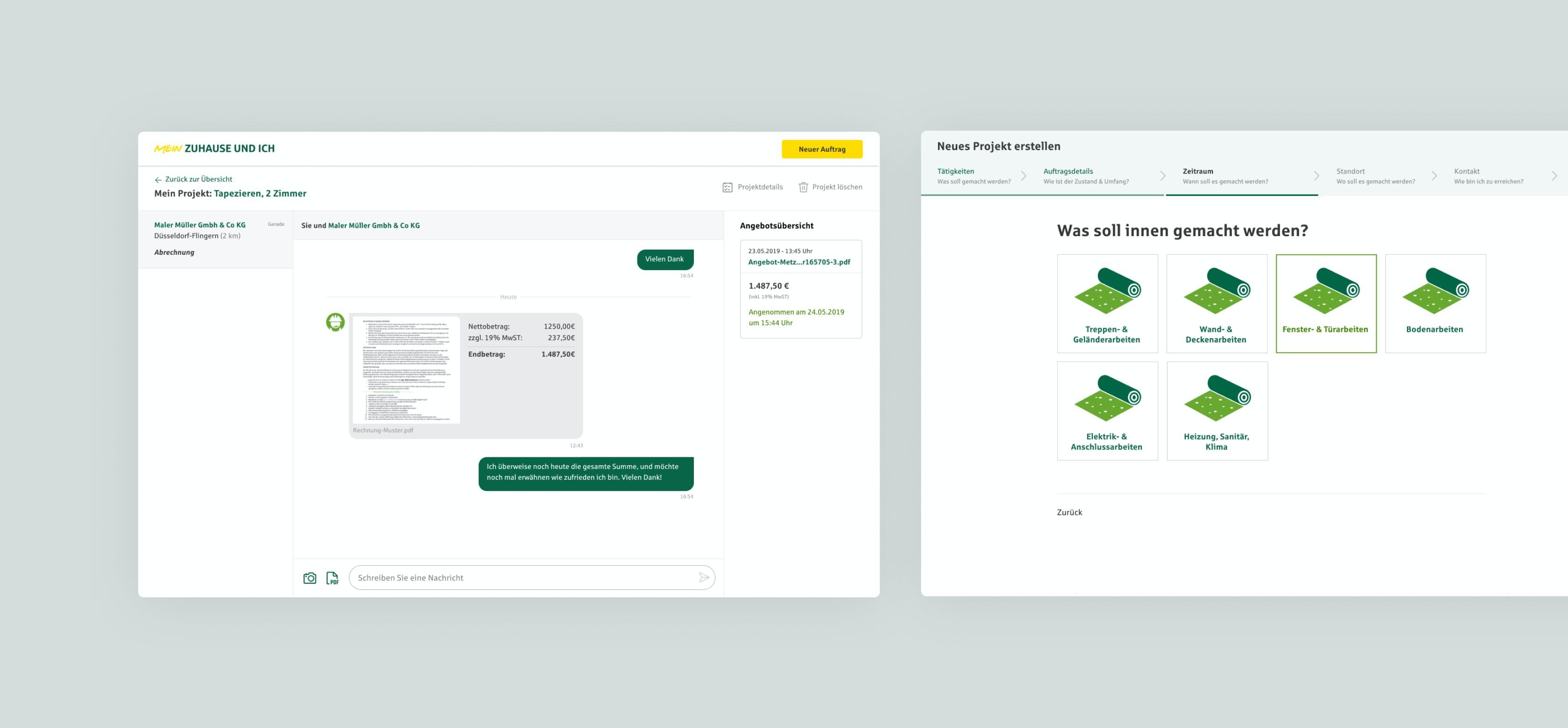 User Interface einer B2B-Anwendung aus der Versicherungsbranche
