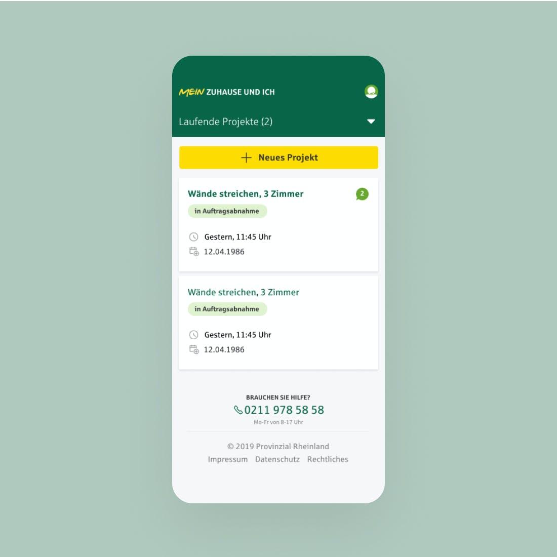 Interface von einem digitalen Produkt der Provinzial Rheinland