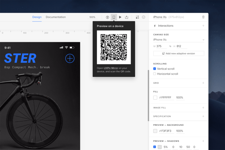 Click on the Preview on device icon in the Top bar to view the QR code, then scan it.