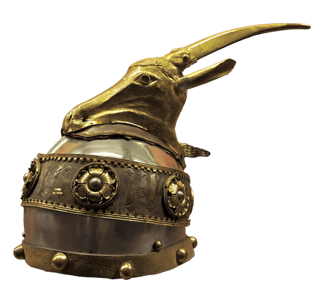 antique brass helmet with goat head