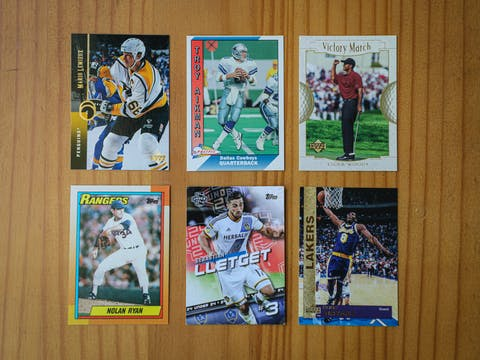 assortment of sports cards