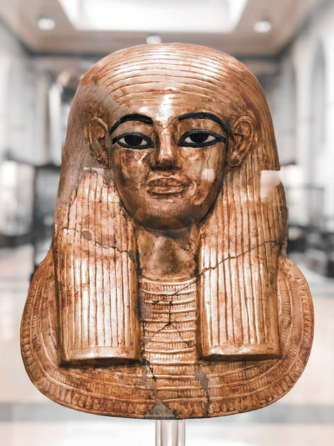 Golden pharoah head in Egyptian Museum, Cairo