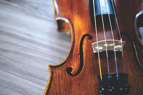 close up view of violin