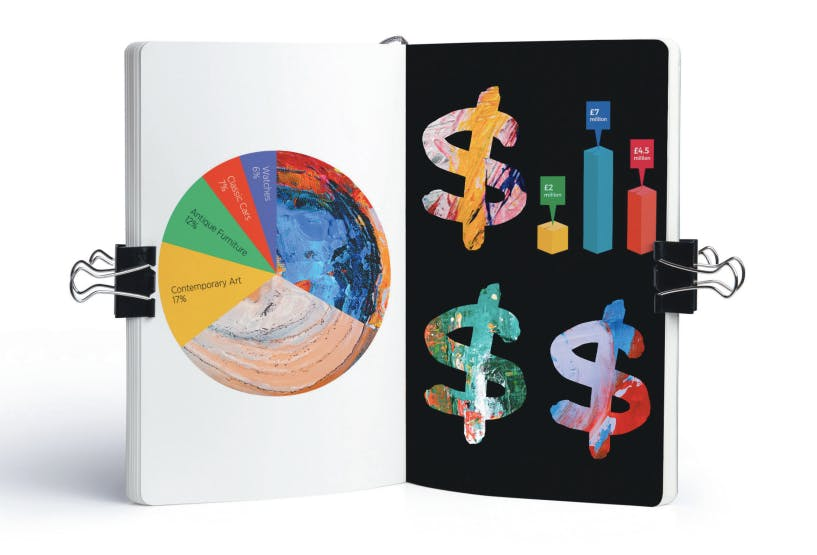 image of book with art and binder clips