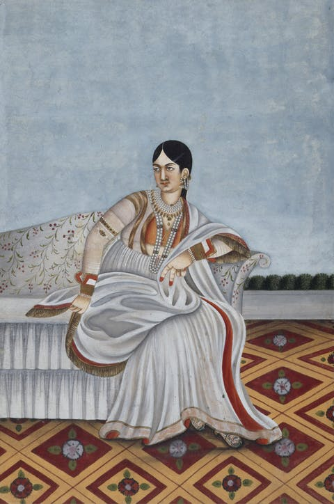 painting of reclining Indian woman
