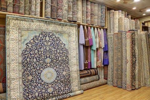 room of various oriental rugs