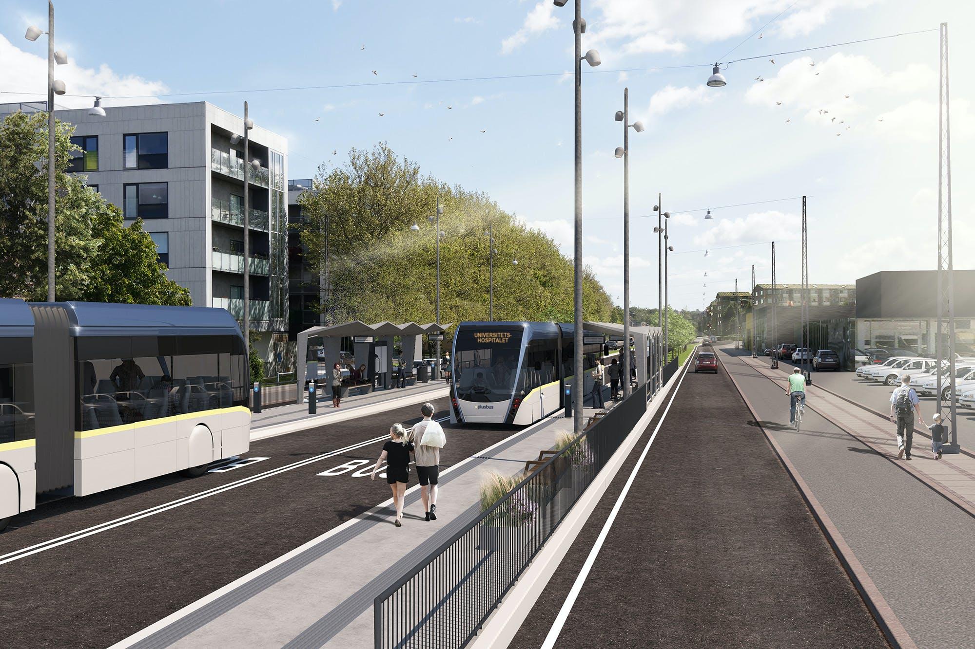 En visualisering af, hvordan den kommende elektriske Plusbus kommer til at se ud. Illustration: Nordjyllands Trafikselskab