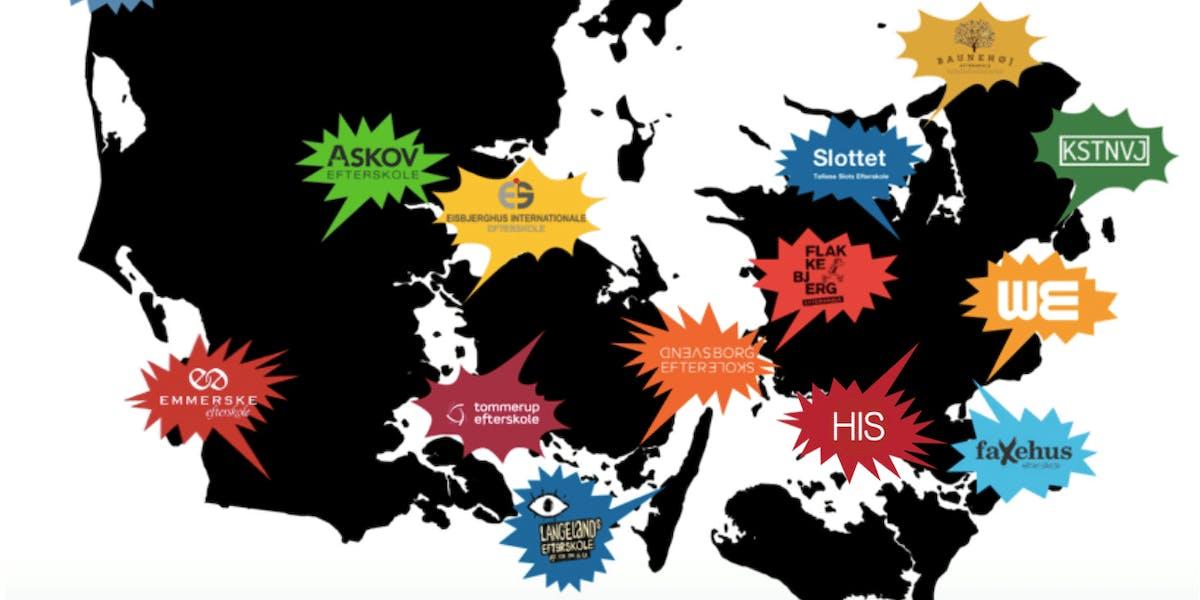 En række efterskoler over hele landet deltager. Her er nogle af dem. Grafik: Fælles Forandring