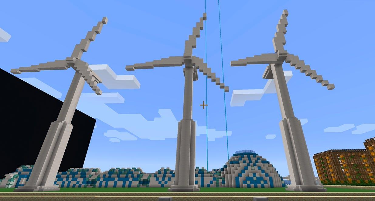 I spiluniverset Minecraft havde nogle elever bygget vindmøller. Screenshot fra Minecraft.