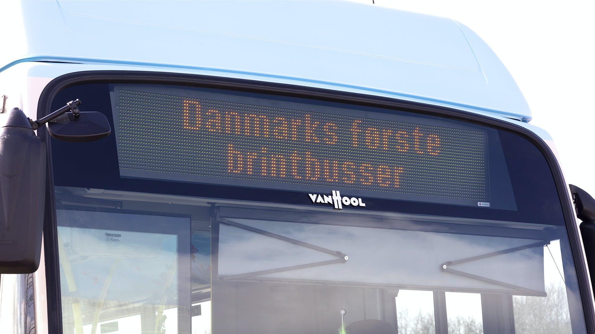 Danmarks første tre brintbusser kører nu i det nordjyske landskab. Foto: Line Bloch Klostergaard, Region Nordjylland.