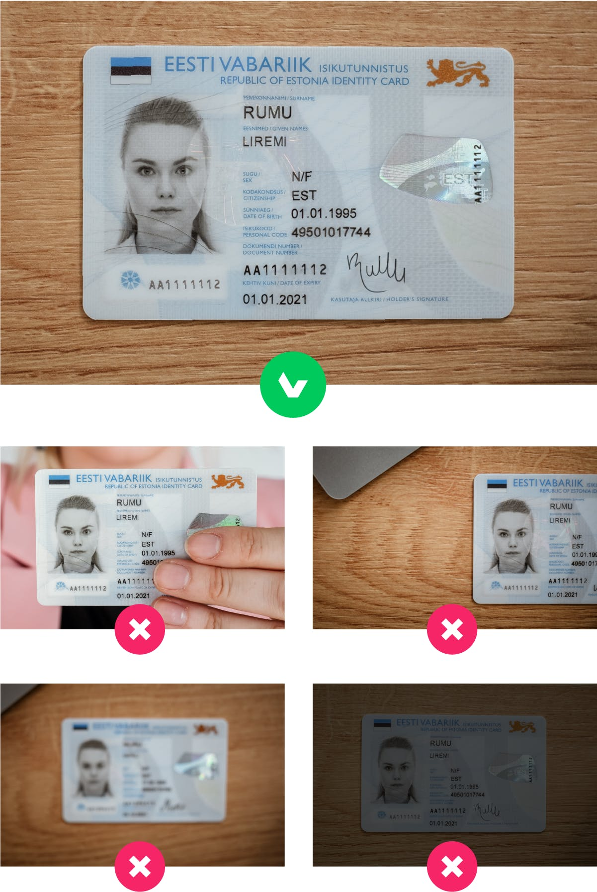 Make sure your ID is sharp and in focus on photos