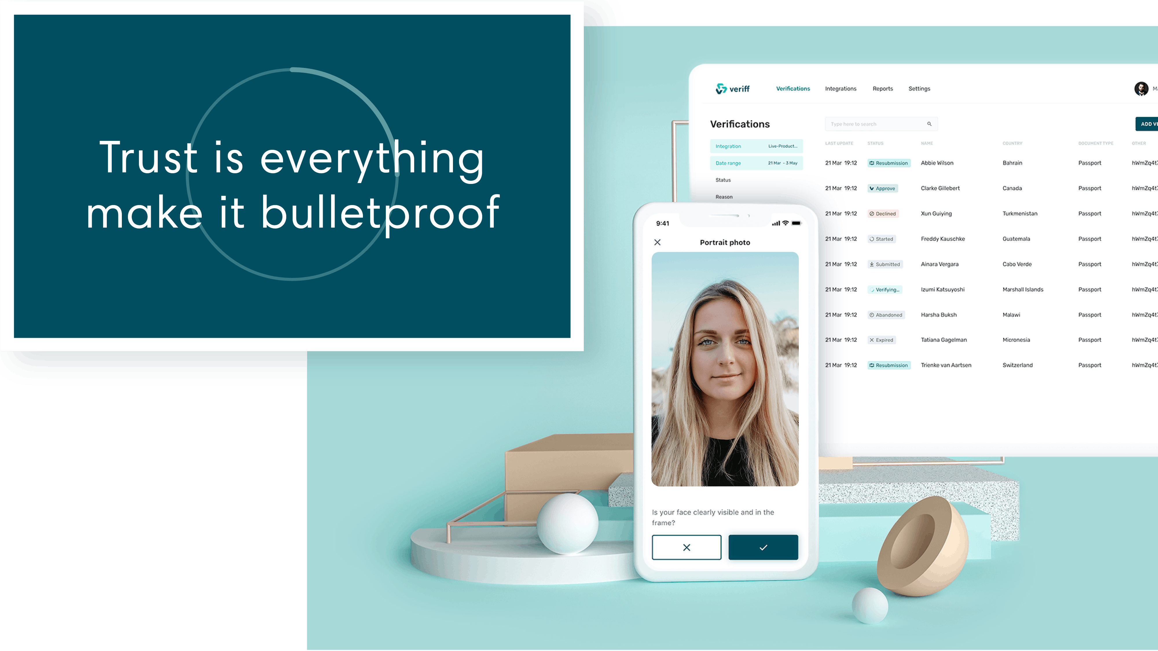 Trust is everything, make it bulletproof, a statement Veriff stands for