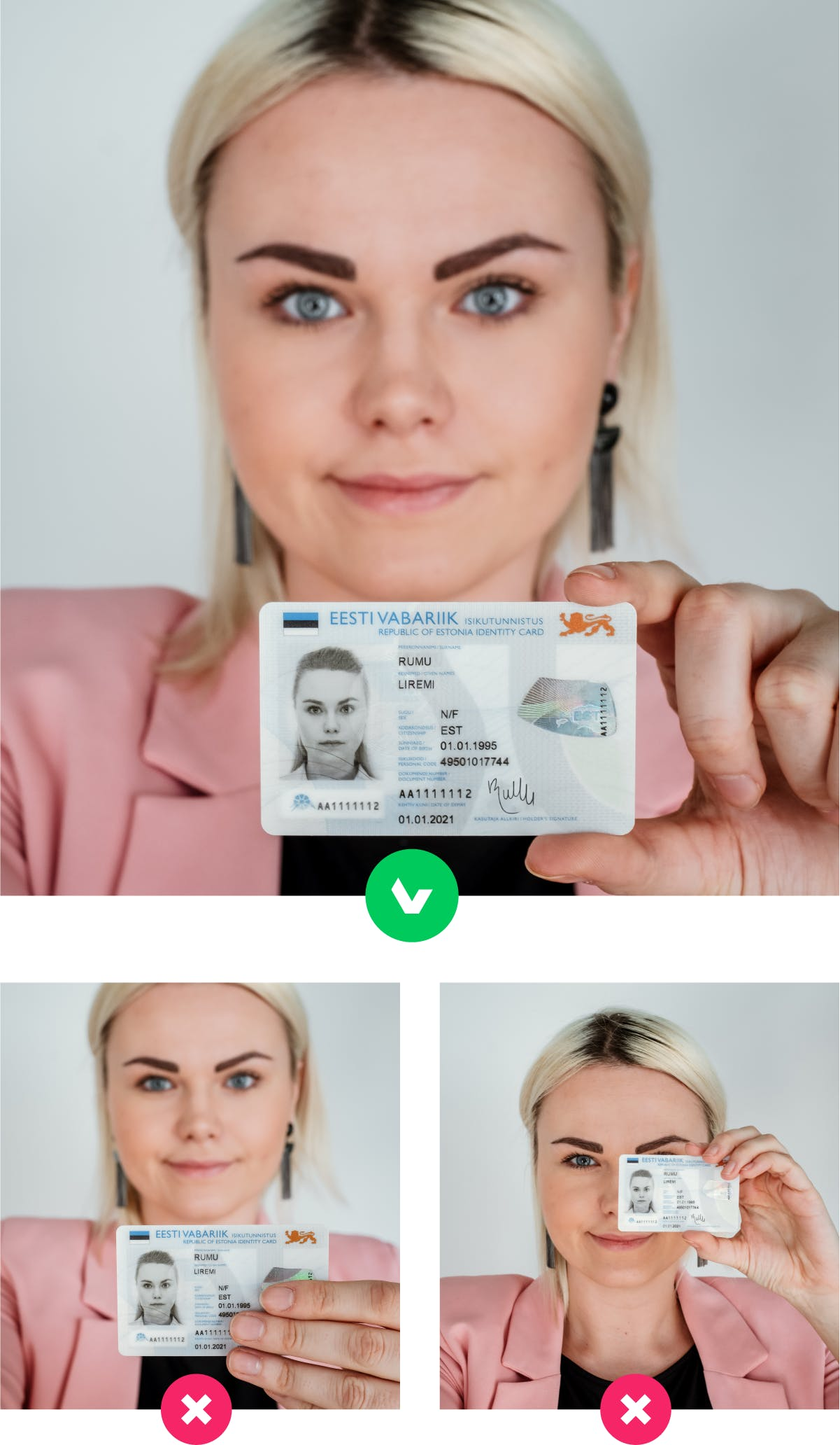 You may be asked to take a photo of yourself with your ID