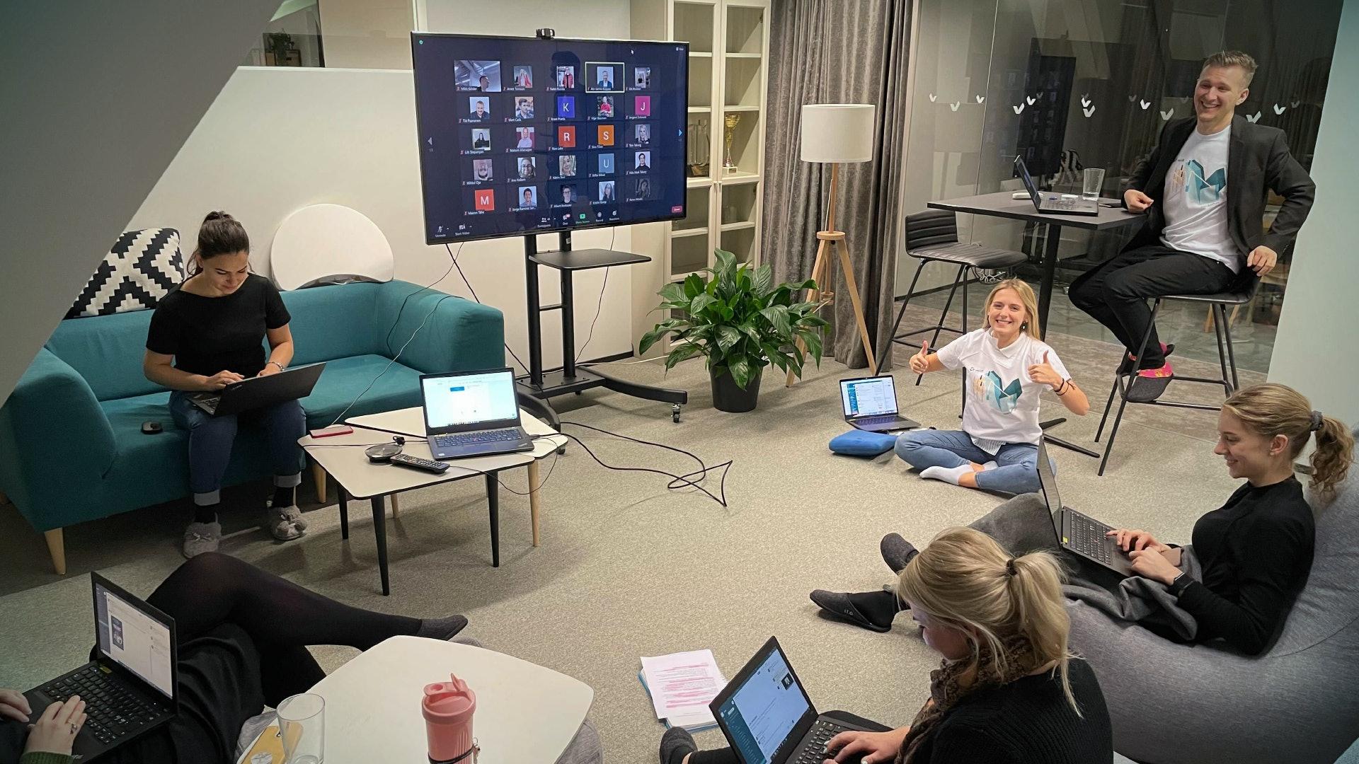 Mikk's team, working hard on creating The Waiting Game