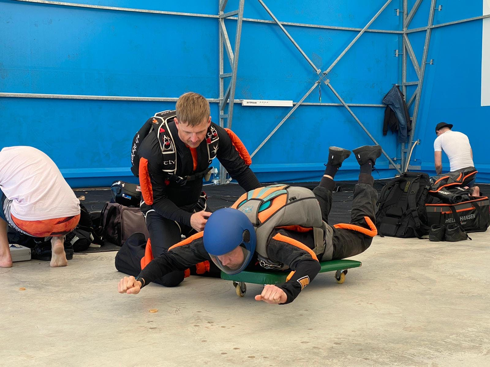 Roman gearing up for a skydive.