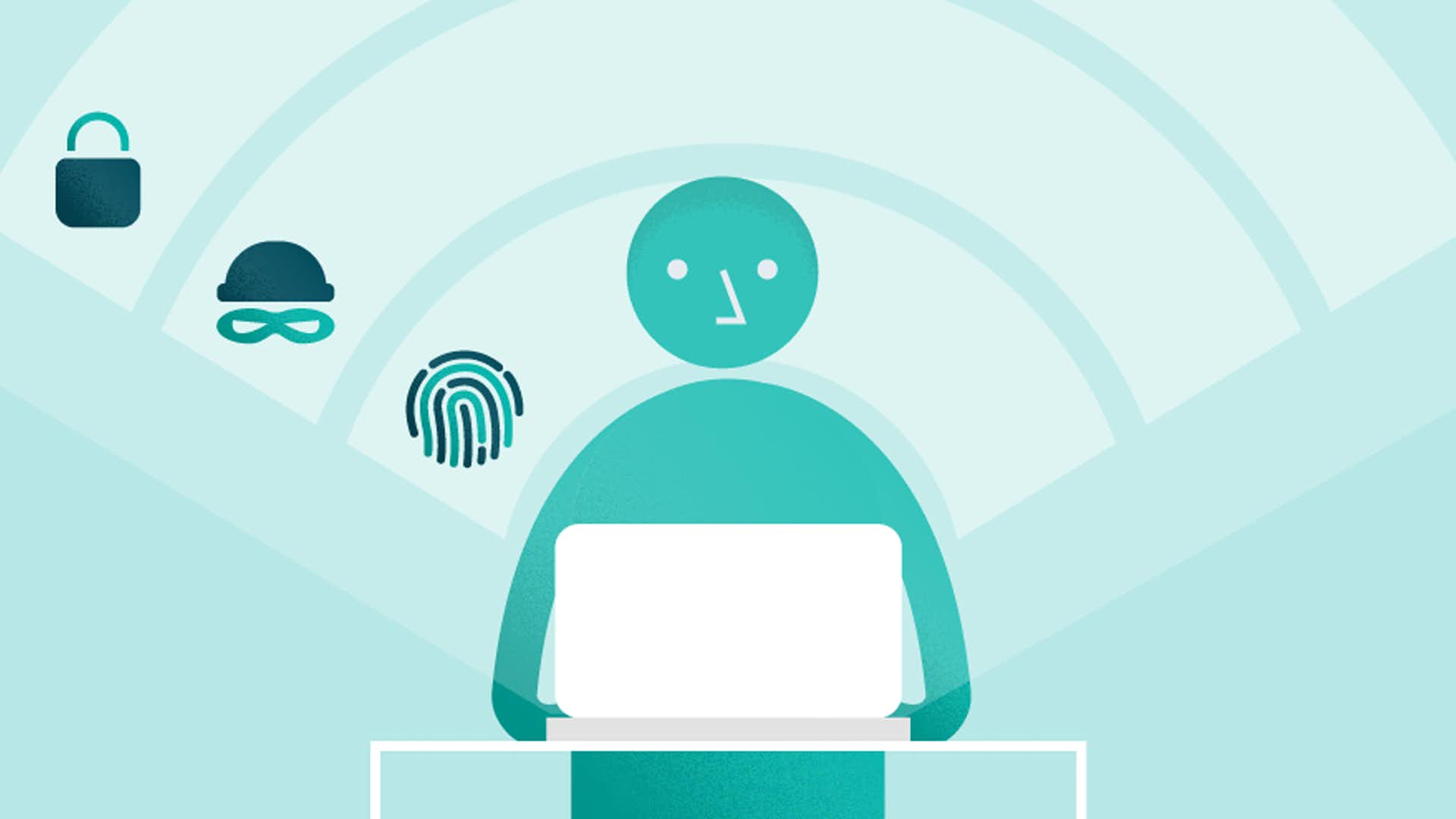 Header graphic of a person using a laptop with online security icons around them.
