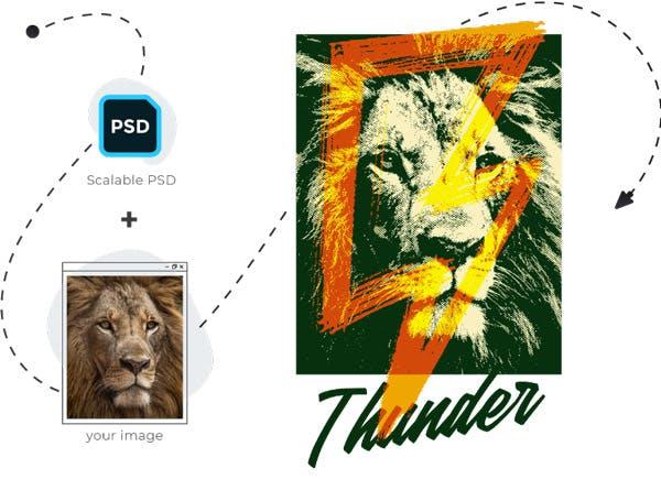 T-shirt PSD Process image
