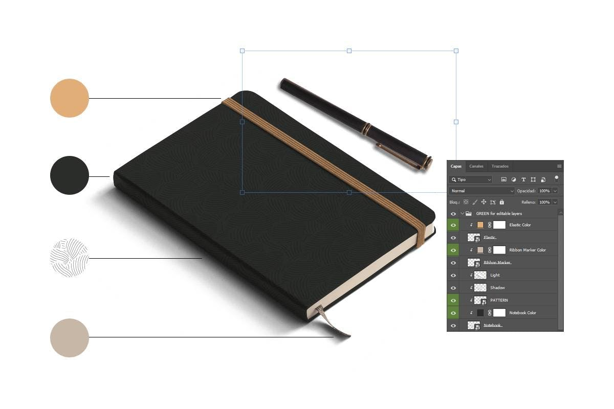 Image of mockup with photoshop layers and tools