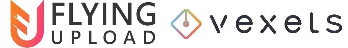 Flying Upload and Vexels logo