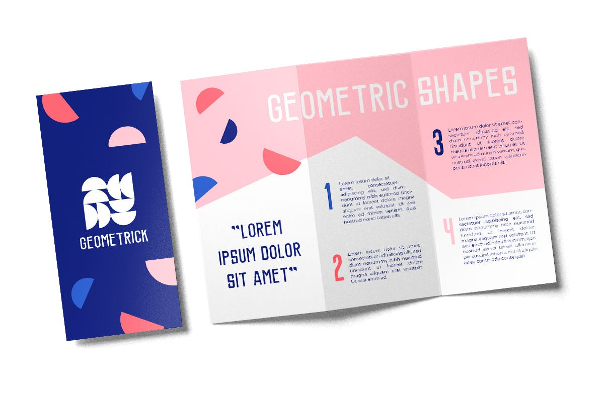 Open and closed trifold brochure geometric design