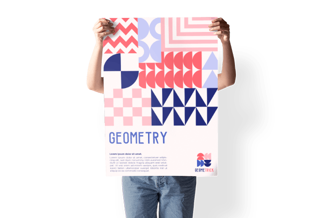 Model holding abstract poster